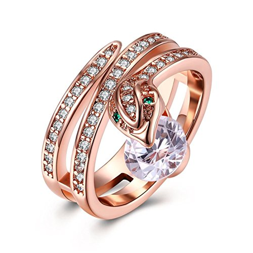 Beydodo Women Ring, Gold Plated Ring for Brides Rose Gold Green Snake Round Cubic Zirconia Size 7