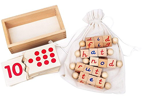 Kenley Reading Blocks & Numbers Puzzle - Montessori Materials Educational Toys for Toddlers 2 3 4 5 Years - ABC Alphabet Spelling Letter & Number Game - Learning Tools for -