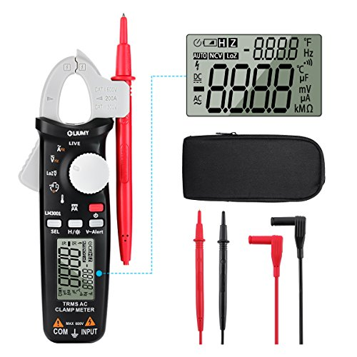 Digital Clamp Meter,6000 Counts LIUMY LM3001 True RMS Auto-ranging Clamp Multimeter,Lightweight high Accuracy clamp Meter, 600V AC/DC Voltmeter Amp Meter, NCV/Temperature/Current/Voltage/Hz/Duty Cycl Autoranging Digital Clamp Meter