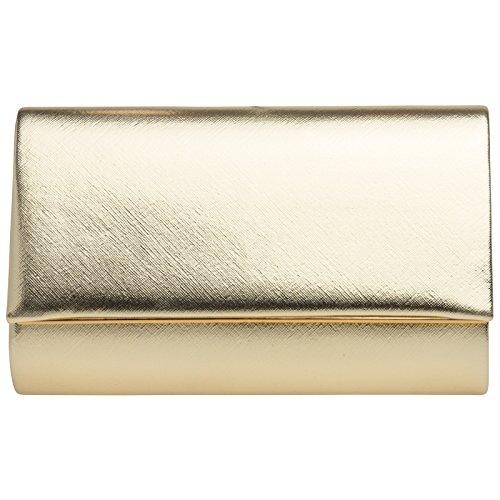 CASPAR TA361 Bolso de Mano Fiesta/Clutch Elegante con Decoración Metálica Dorado