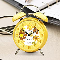 Ayzr Bell, Alarm Clock 4 Inch Fashion Shell Double Ear With Night Light Student Double Bell Bedroom Living Room Rest Clock,Yellow