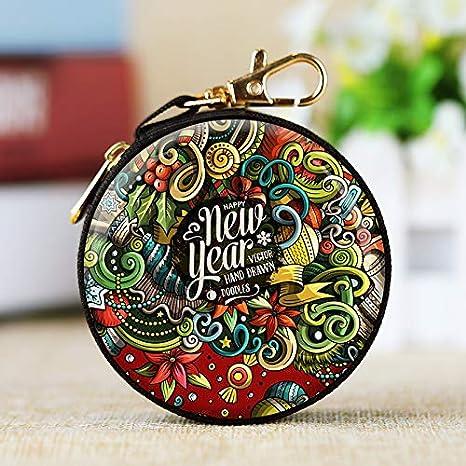 Regalo de cumplea/ños 1 Monedero de Navidad Redondo Estilo 1 pintalabios para Mujeres Auriculares ni/ños Bolso para Llaves Navidad Topdo