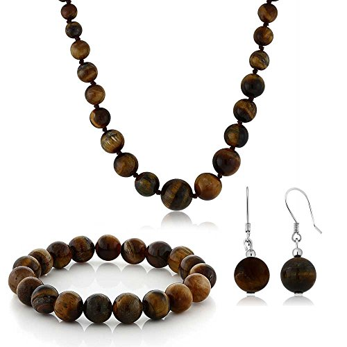 Gem Stone King 10mm Tiger Eye Brown Color Cross Cut Bead Necklace Bracelet and Earrings ()