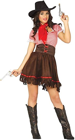 Ladies Cowgirl Costume Adult Rodeo Doll Fancy Dress Womens Western Cowboy Outfit