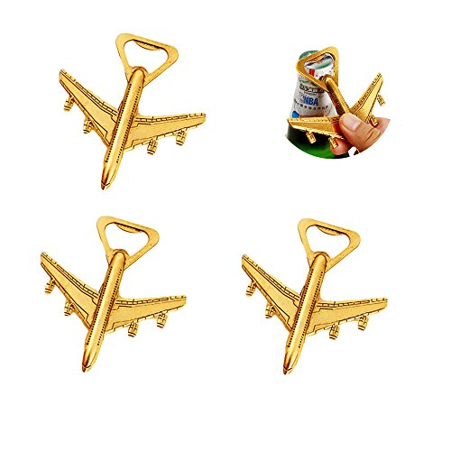 Pack of 20 Airplane Bottle Opener Air Plane Travel Beer Bottle Opener Party Favor Wedding Birthday Decorations (Airplane style 1# Gold)