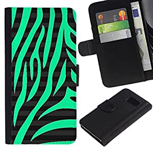 iBinBang / Flip Funda de Cuero Case Cover - Nature Pattern Zebra Black Stripes - Samsung Galaxy S6 SM-G920