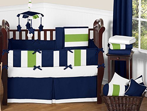 Lime 4 Piece Crib - Sweet Jojo Designs 9-Piece Navy Blue and Lime Green Stripe Baby Boy Bedding Crib Set