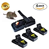 Gusame Set of 4 Mouse Traps, Premium Rat Traps That Work Humane Power Rodent,Reusable Mouse Catcher, Quick Effective Sanitary,New Upgrad by