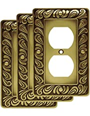 Franklin Brass 64045 Paisley Single Duplex Outlet Wall Plate/Switch Plate/Cover, Tumbled Antique Brass, 3-Pack