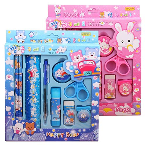 ICCUN 2 Sets Cartoon Pencil Ruler Earser Stationery Set For School Kids Gift Education & Crafts