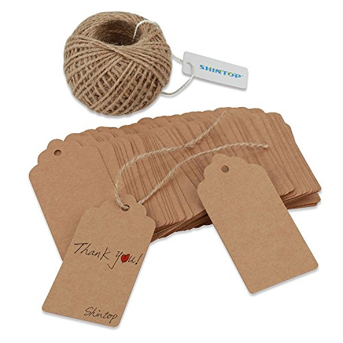 Shintop 100PCS Kraft Paper Gift Tags Bonbonniere Favor Rectangular Gift Tags with Free 100 Feet Natural Jute Twine (Oblong Paper Tag) -