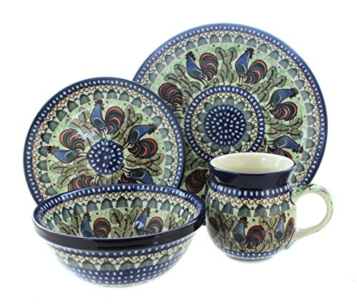 Blue Rose Polish Pottery Rooster Row 4 Piece Place Setting