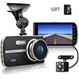 SHISHUO Dash Cam, 1080P HD 4 Inch Screen Dual Cameras Front and Rear, Vehicle On-dash Video Recorder, Parking Monitoring, HDR Night Vision, Motion Detection, Built In G-Sensor, 16G Micro SD Card.