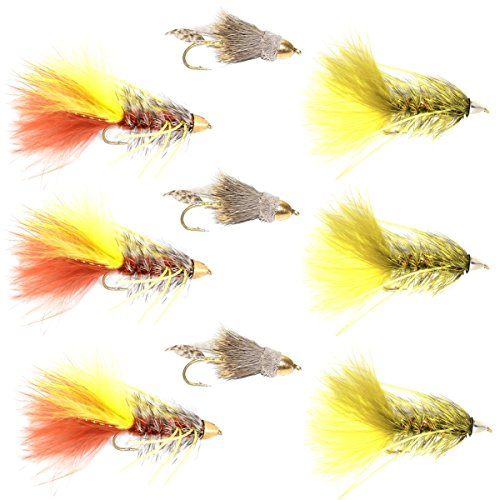 The Fly Fishing Place Cone Head Muddler Minnow and Rubber Legged Bugger Fly Fishing Flies Assortment - Bass and Big Trout Streamers Fly Fishing Fly Collection - 9 Flies Size 4 -