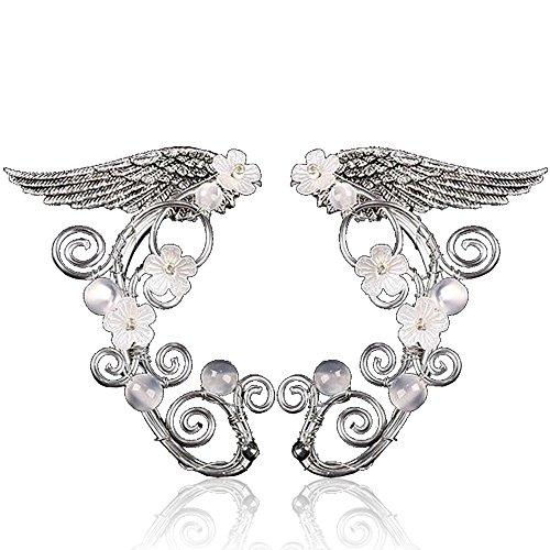 Elf Ear Cuffs, Aifeer 1 Pair Pearl Beads Filigree Fairy Elven Cosplay Fantasy Handcraft Earring (Wings (Elven Ear Tips)