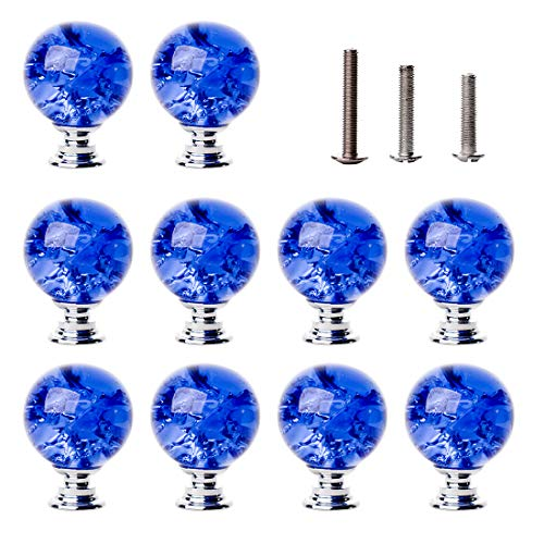 LONGWIN 10 Pack Crystal Cabinet Knobs Handles - 30mm Glass Ice Crackle Ball Shaped Dresser Drawer Pulls for Kitchen Batchroom Bedroom Blue