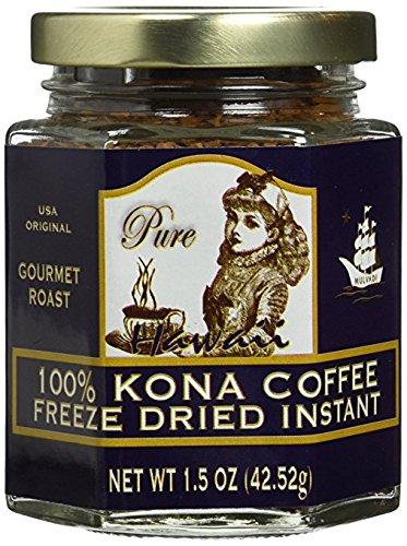 - Hawaii 100% Kona Coffee Instant Freeze Dried Glass Jar (1.5 Oz, 42.52g)