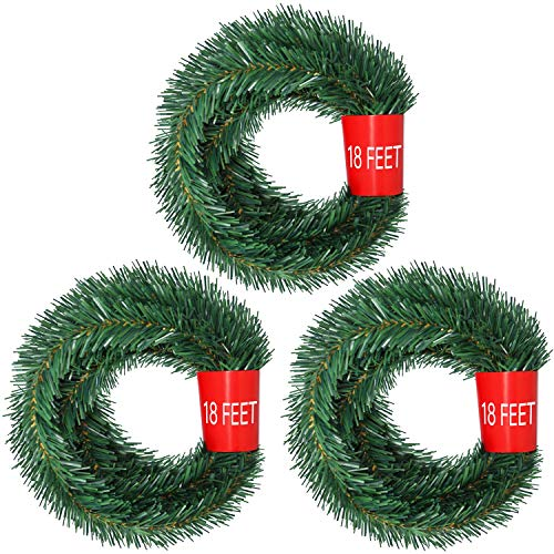 Woooow 54 Feet Christmas Garland, Artificial Pine Garland Christmas Decorations Non-Lit Soft Green Garland Outdoor Indoor Use
