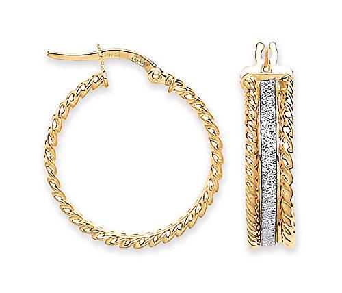 Jewellery World Bague en or jaune 9carats grande lune Boucles d'oreilles Bord côtelé