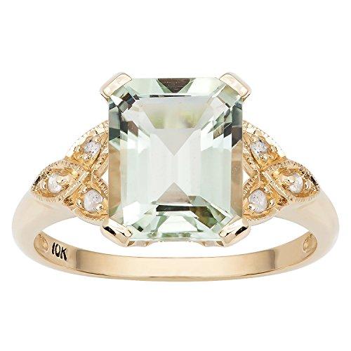 10k Yellow Gold Vintage Style Genuine Emerald-cut Green Amethyst and Diamond Ring (Vintage Ring Quartz)