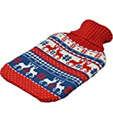 Harbour Housewares Full Size Hot Water Bottle With Knitted Cover - Red / Blue Christmas Stag / Reindeer