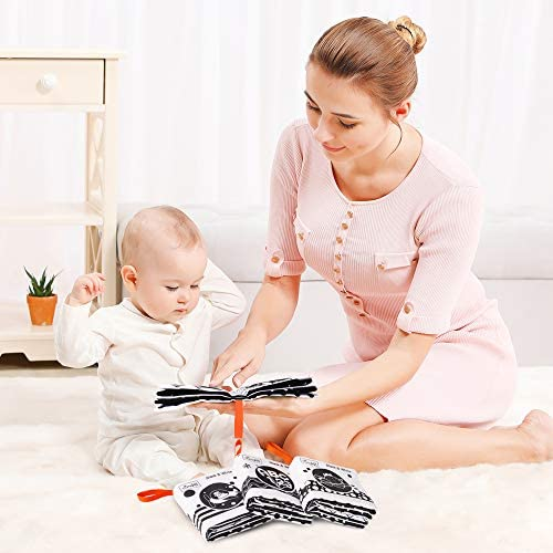 3packs Tumama Libros de Tela Suave para beb/és Libros de Tela en Blanco y Negro Juguetes de Peluche con Animales,Fruta,n/úmero,Forma,Juguete de Aprendizaje de Letras para beb/és,ni/ños