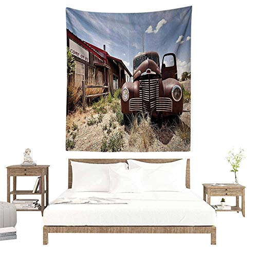 (alisoso Wall Tapestries Hippie,Americana Decor Collection,Abandoned Restaurant on Route 66 with Come on in Sign Desert Road Rusty Old Car Picture, W51 x L60 inch Tapestry Wallpaper Home Decor)