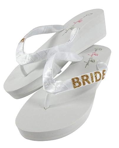 1e68e06772c2 Amazon.com  Gold Bling Bride Flip Flops - choose colors  Handmade