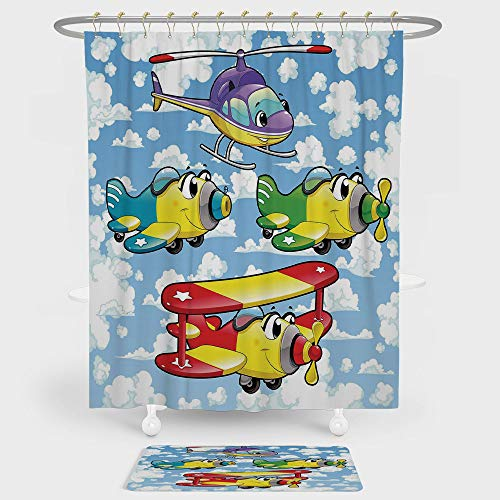 Cartoon Decor Shower Curtain And Floor Mat Combination Set Kids Cute Airplanes and Helicopters with Faces in Cloudy Sky Baby Nursery Print For decoration and daily use Multi for $<!--$43.99-->