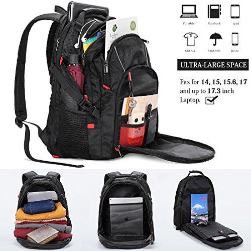 b0afab0d2a Zaino Porta PC 17.3 Pollici Laptop Impermeabile USB Zaini Notebook Scuola  Viaggio Backpack Borsa Uomo Donna Nero: Amazon.it: Elettronica