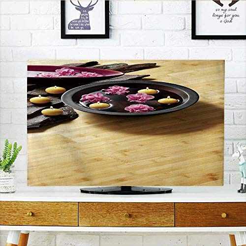 Philiphome tv Protective Cover Light Bamboo parquet Floor with Thai Ornaments tv Protective Cover W32 x H51 INCH/TV 55