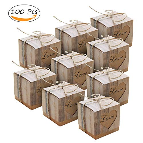 100 pcs Candy Boxes Love Rustic Kraft Bonbonniere+ 100pcs Burlap Twine, Love Heart Imitation Bark Gift Bag for Wedding Party Birthday Baby Shower Decoration