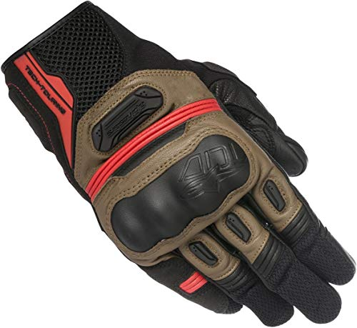 Alpinestars Men's Highlands Motorcycle Riding Glove, Black/Tobacco Brown/Red, 3X-Large
