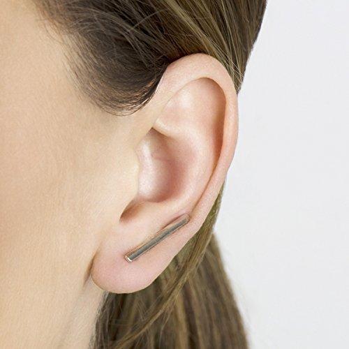 Silvertone Simple Bar Ear Cuffs