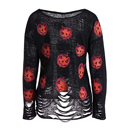GOVOW Halloween Costumes for Women Plus Size Long Sleeve Pumpkin Printed Ripped Top Blouse]()