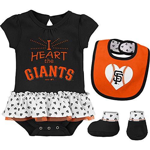 Outerstuff MLB Newborn & Infants Girls Baseball Girl Creeper, Bib, Bootie Set (12 Months, San Francisco Giants)