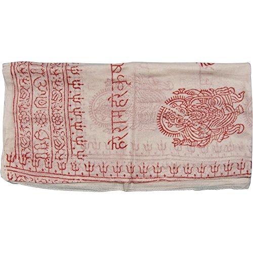Indian Ganesh Om Meditation Yoga Altar Cloth Prayer Shawl Scarf (White)