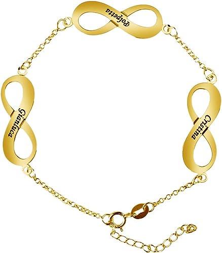 Junmei Name Bracelet Sterling Silver Personalized Name Initial Bangle Adjustable Bracelet