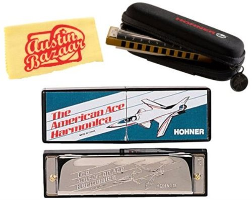 Hohner 02 American Ace Diatonic Harmonica Bundle with Harmonica Pouch and Polishing Cloth - Key of C