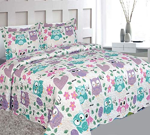 Elegant Home Cute Beautiful Girls Mutlicolor Pink White Blue Purple Floral Owl Hearts Design 3 Piece Coverlet Bedspread Quilt Kids Teens/Girls Full Size # Owl (Full Size)