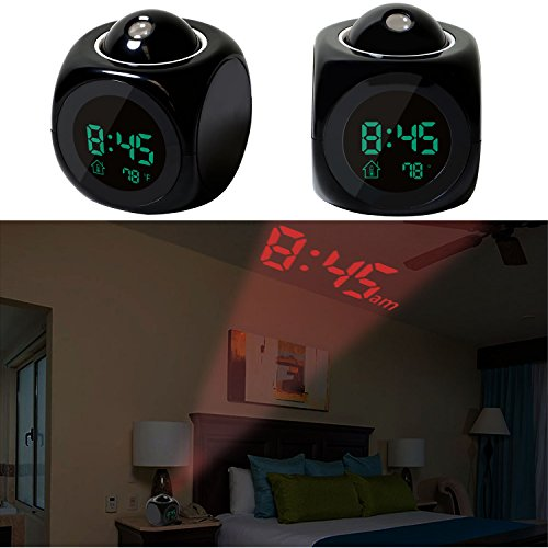 GPCT Projection Alarm Clock (Digital LCD Voice Talking Function, LED Wall/Ceiling Projection, Alarm/Snooze/Temperature Display, 12hr/24hr, Bedside Alarm Clock) - Black