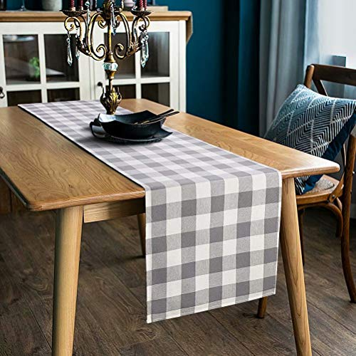 LONG WAY 100% Cotton Dining Table Runner-13 by 72 inches,Buffalo Check Table Runner Machine Washable Everyday Table Décor (Middle Grey Plaid)