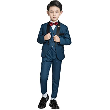 bc2b787bb07 Yuanlu 5 Pieces Little Boys Formal Dress Suits Kids Tuxedos for Weddings  Navy Blue Size 2T
