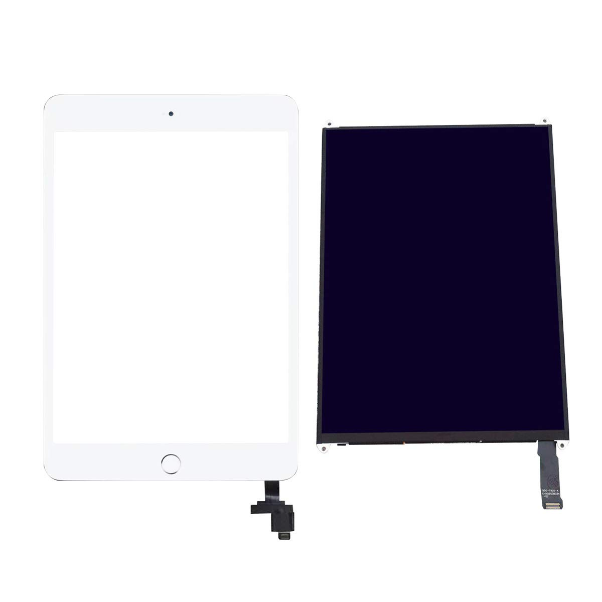 Compatible with LCD Screen Parts for ipad Mini 2, Including A1489 A1490 LCD Screen +White Touch Screen with IC chip + Home Button + Adhesive Double-Sided Tape + Tool
