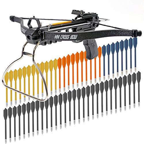 Crossbow Pistol with Bolt Rack Self-Cocking 80 LBS by KingsArchery® with Adjustable Sights, 3 Aluminium Arrow Bolts, and Bonus 60-pack of Colored PVC Arrow Bolts + KingsArchery® Warranty