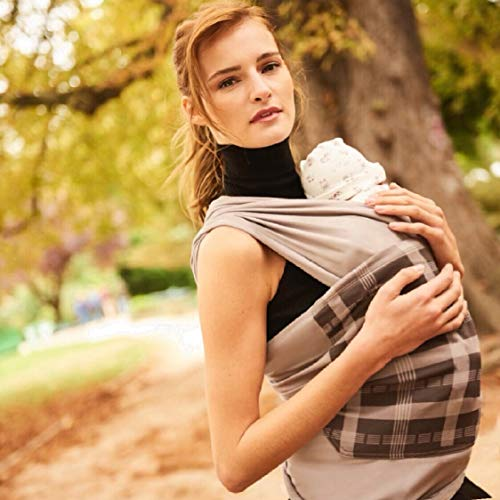 (Baby Wrap Carrier Sling Swaddle Infant and Newborn - Baby Shower Gift - Carrier & Nursing Cover - Luxurious Peruvian Cotton - Gray with Plaid Pocket. Use on Both Sides)