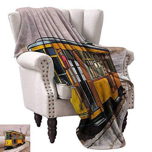 - Modern Super Soft Blankets Yellow Train on Rail Roads Winter Scenery Old Suburban Illustration Cozy for Couch Sofa Bed Beach Travel 70