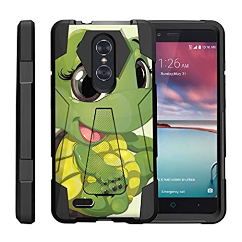 TurtleArmor | ZTE ZMax Pro Case | ZTE Blade X Max Case | ZTE Carry [Dynamic Shell] Hybrid Duo Cover Impact Absorbent Shock Silicone Layer Kickstand Hard Shell Animal Design - Baby (Zte Zmax Phone Case Animals)