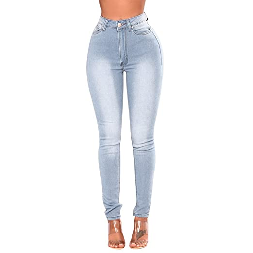 Women Skinny Denim Jeans Pants High Waist Stretch Slim Pencil Trousers