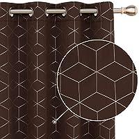 Deconovo Funktionell diamantfolie tryckta mörkläggningsgardiner termiska isolerade gardiner öljett gardiner för sovrum B…